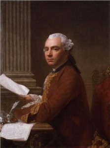 Alexander de Courcy Potterton's great-uncle, the famous traveller and antiquarian Robert Wood. Painted by Allan Ramsay, 1755. (National Portrait Gallery, London)